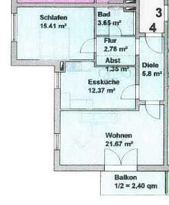 *Reserviert* Attraktive 2-Raum-Wohnung mit EBK und Balkon in Haag in Oberbayern in Haag in Oberbayern