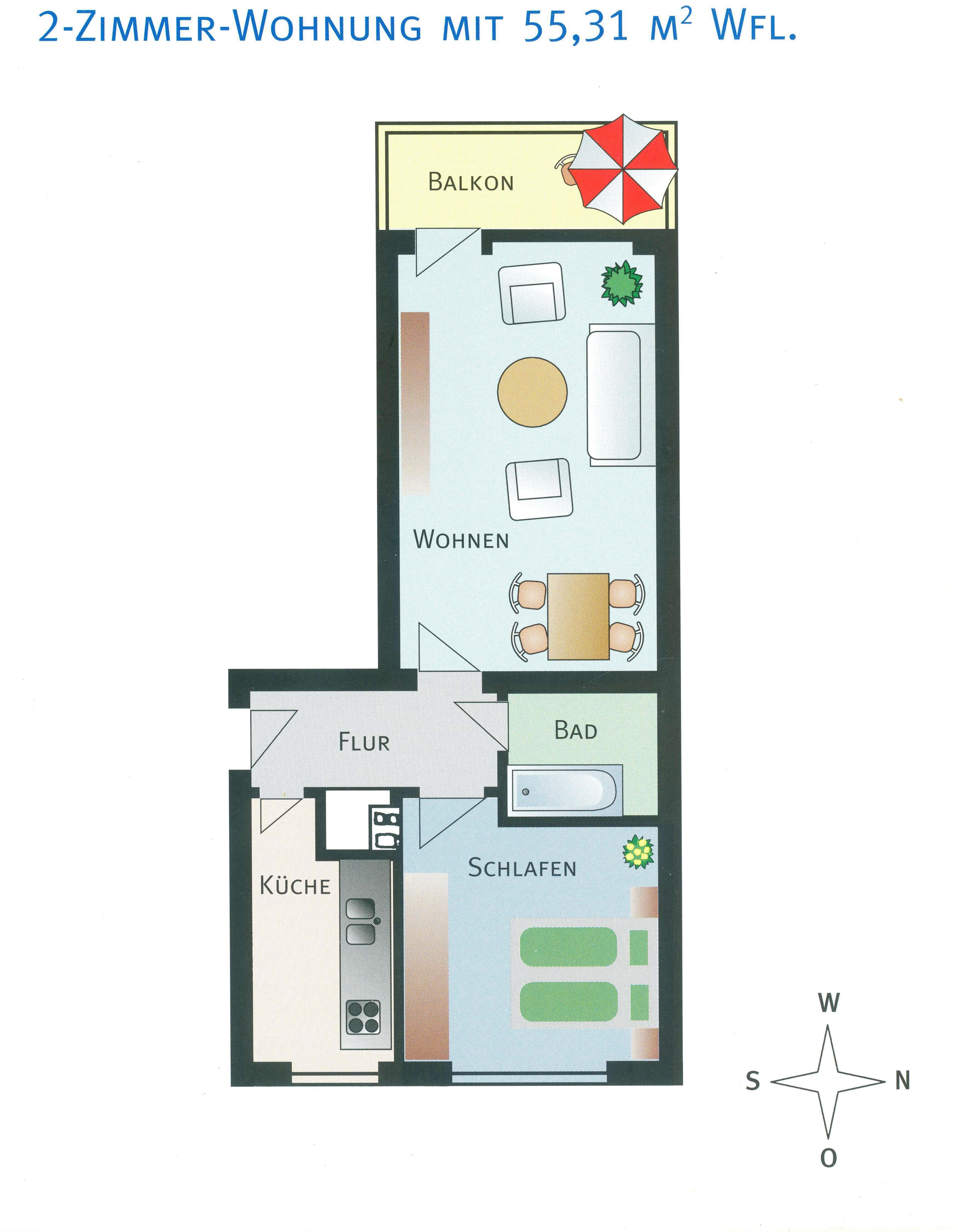 Möbliert: Schöne, voll-möblierte zwei Zimmer Wohnung in München, Thalkirchen - Obersendling in Obersendling (München)