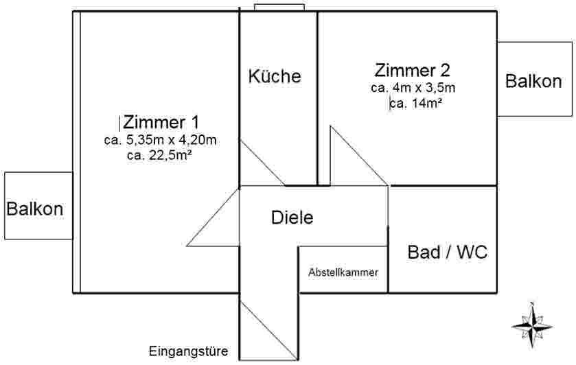 Renovierte 2-Zimmer-Wohnung in