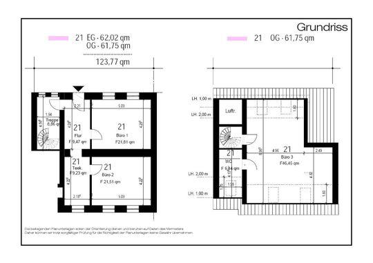 Grundriss mit Rahmen Fläche 21