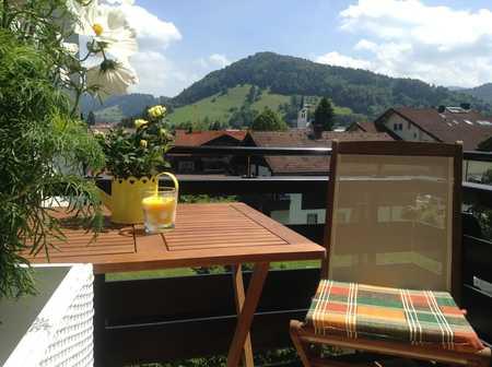 Ferienwohnsitz in Oberstaufen, möblierte 2-Zimmer-Whg. zentrumsnah, ruhig, sonnig, Aussicht, Garage in Oberstaufen