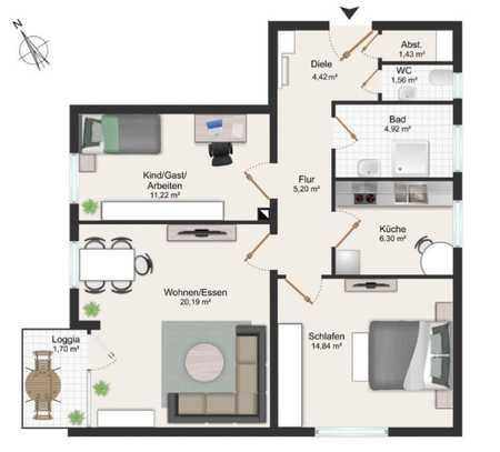 Ab sofort schöne 3-Zimmer-Wohnung mit Balkon und EBK in Passau - Grubweg in Grubweg (Passau)