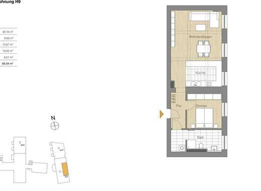 2 Zi.-Whg., Lage im historischen Bau mit weißer EBK