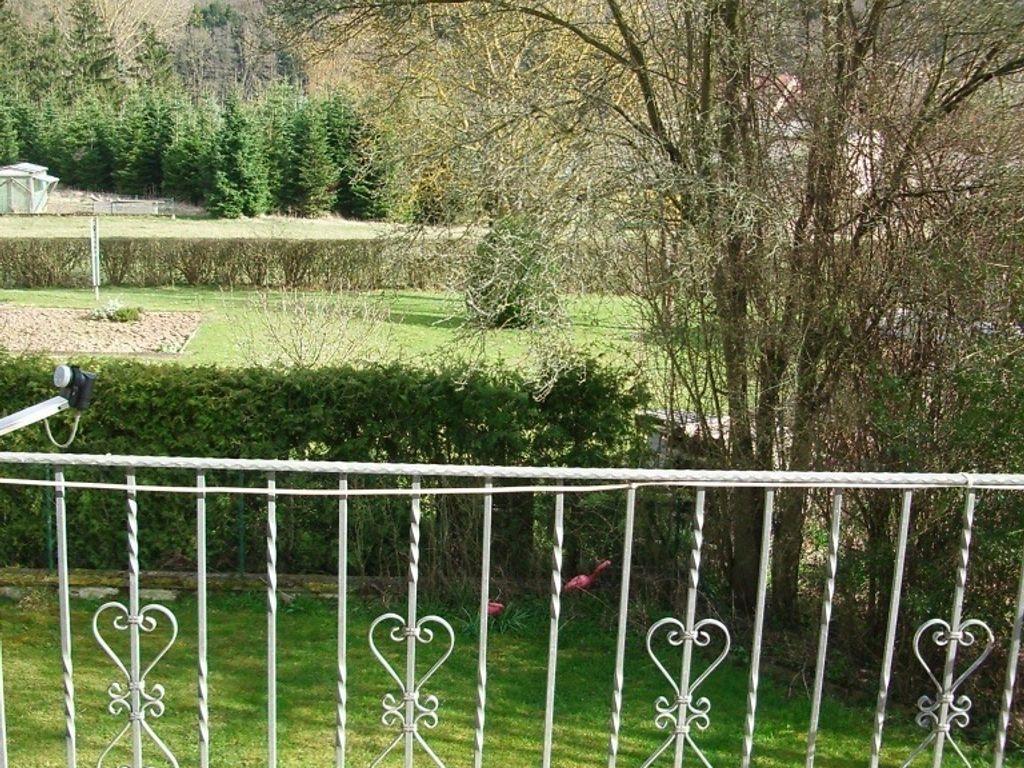 Blick vom Balkon ins Grüne