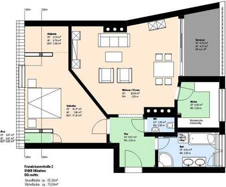*Rosenheimer Platz*möblierte 2 Zi. DG-Wohnung* Küche mit neuer EBK* Dachterrasse* sep. WC* in Haidhausen (München)