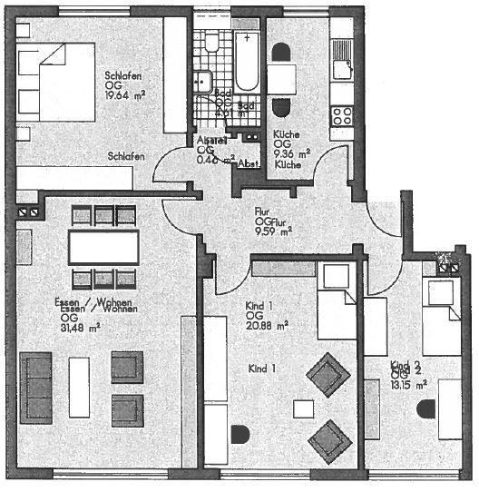 tolle 4 5 zimmer wohnung zu vermieten. Black Bedroom Furniture Sets. Home Design Ideas