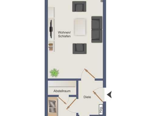 Benrath: helles 1 Raum Apartment mit Balkon und separater Küche