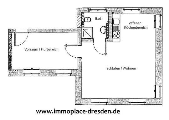 Große 1,5-Raumwohnung mit Pantryküche im schönen Loschwitz!!!