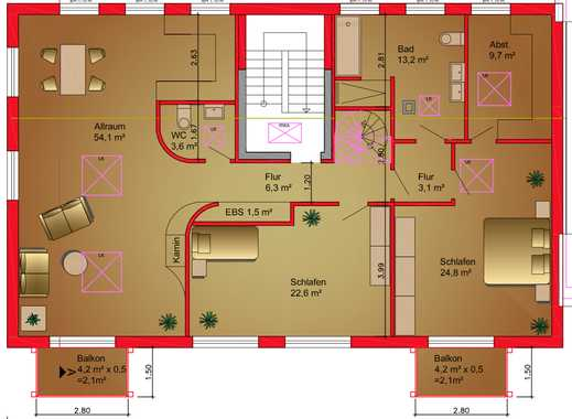 Erstbezug: stilvolle 3,5-Zimmer-Penthouse-Wohnung mit EBK und Balkon in Hamburg-Barmbek-Süd