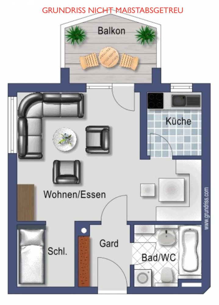 Gepflegtes 1,5-Zimmer-Apartment mit Balkon in Landshut/Achdorf in Achdorf (Landshut)