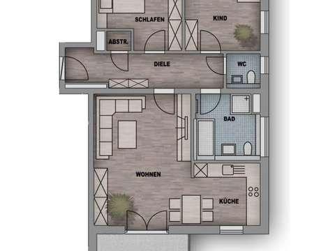 Neubau! 3-Zi.-Wohnung mit 12qm überdachtem Süd-Balkon...