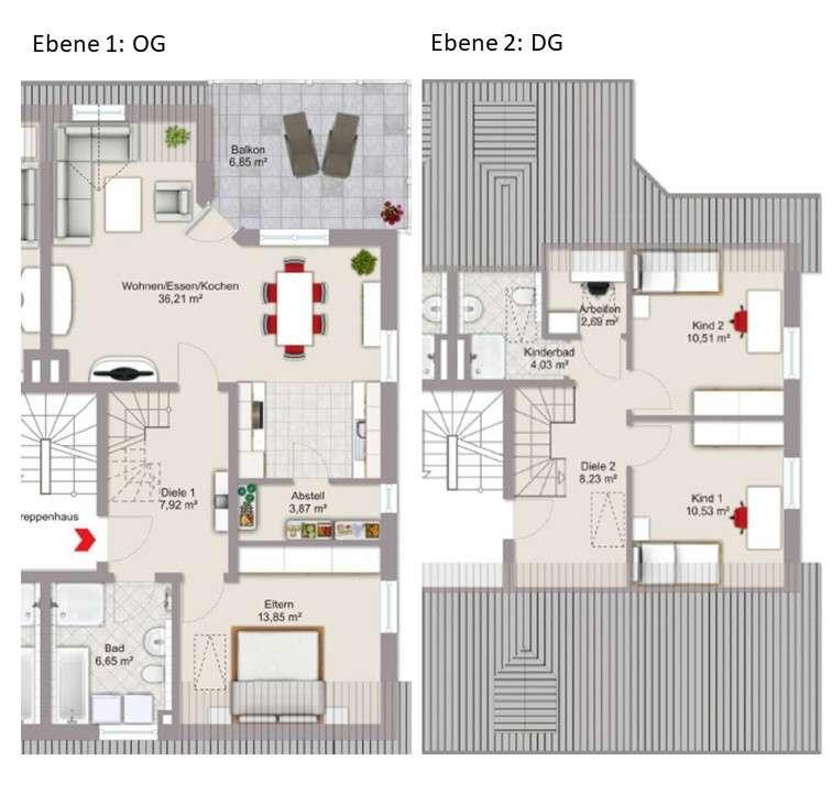 Wunderbare, helle 4,5-Zimmer-Maisonette-Wohnung mit großer Dachterrasse in Süd-West-Ausrichtung in