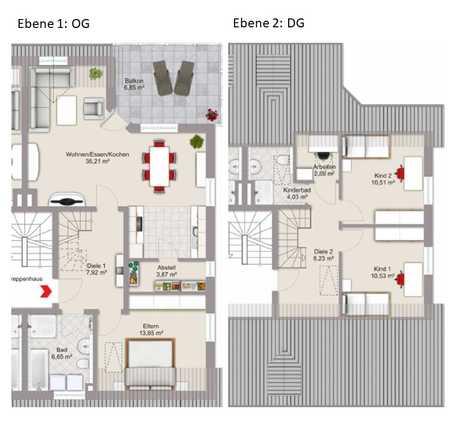 Wunderbare, helle 4,5-Zimmer-Maisonette-Wohnung mit großer Dachterrasse in Süd-West-Ausrichtung in Altdorf (Landshut)