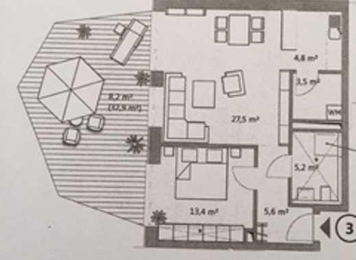 Neuwertige 2 Zimmerwohnung mit großer Terrasse in Toplage, Bremen Überseestadt