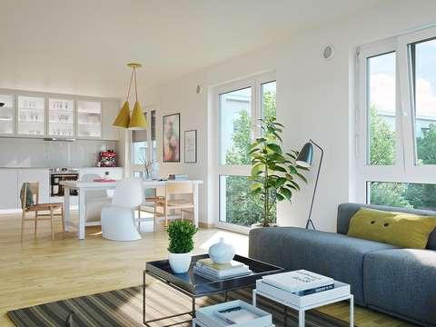 4-Zimmer-Familienwohnung, Bad mit Fenster, Küche mit Fenster ...