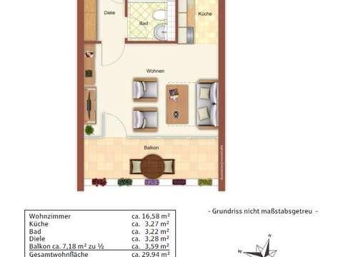 1 Zi Wohnung 30qm Saniert In 2015 Mit Kuche Und Viel Licht Balkon