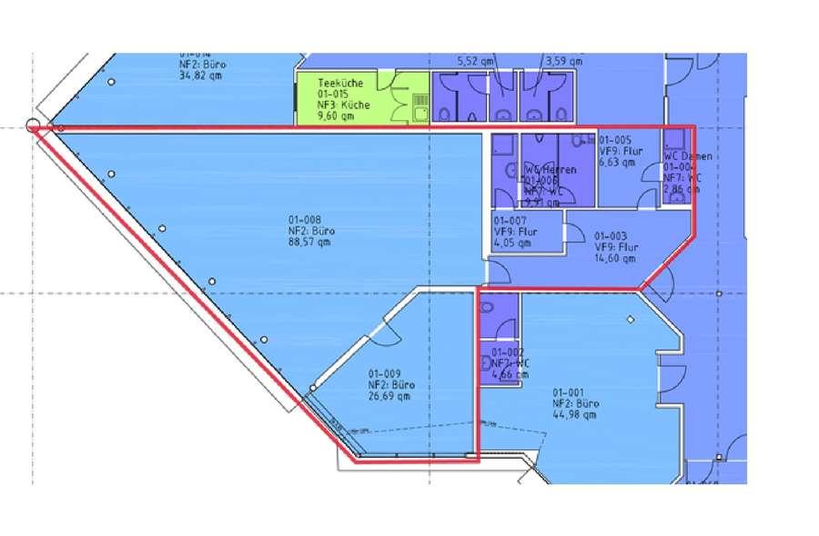 Büro 153,31 m² OG DIN 277