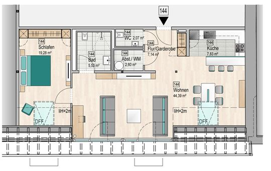 Grundriss Wohnung 144
