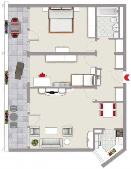 Exklusive, vollständig renovierte 3-Zimmer-Wohnung mit großen Balkon und Einbauküche in Freising in Freising