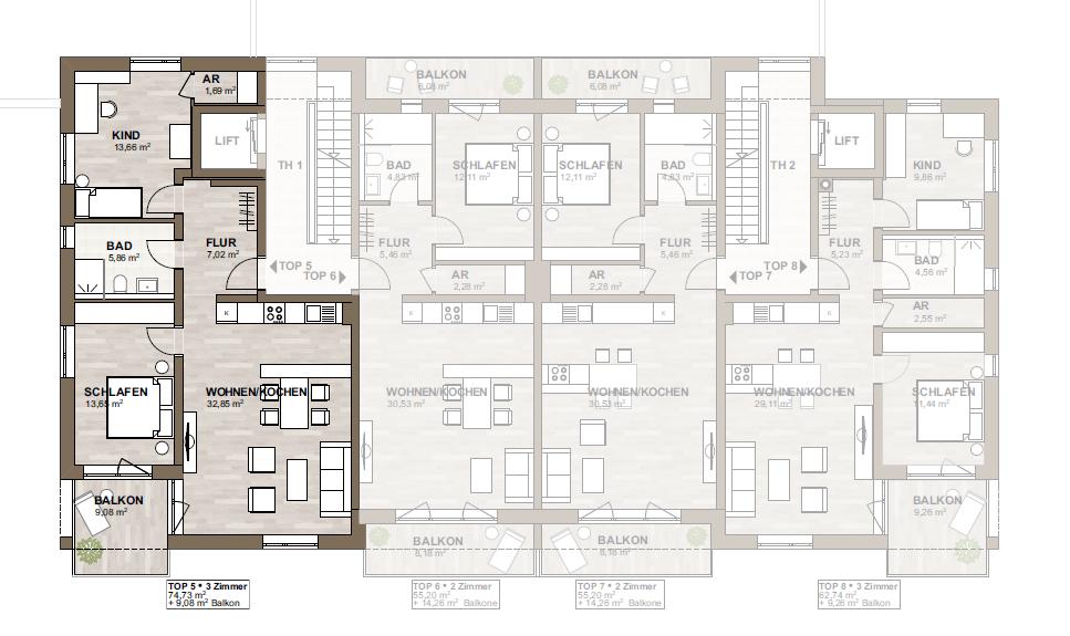 Neubau - moderne 3-Zimmerwohnung mit Südbalkon - zentrumsnah - ruhige Lage