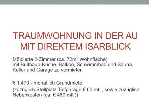 Exklusive, geräumige und gepflegte 2-Zimmer-Terrassenwohnung mit Balkon und EBK in Au, München