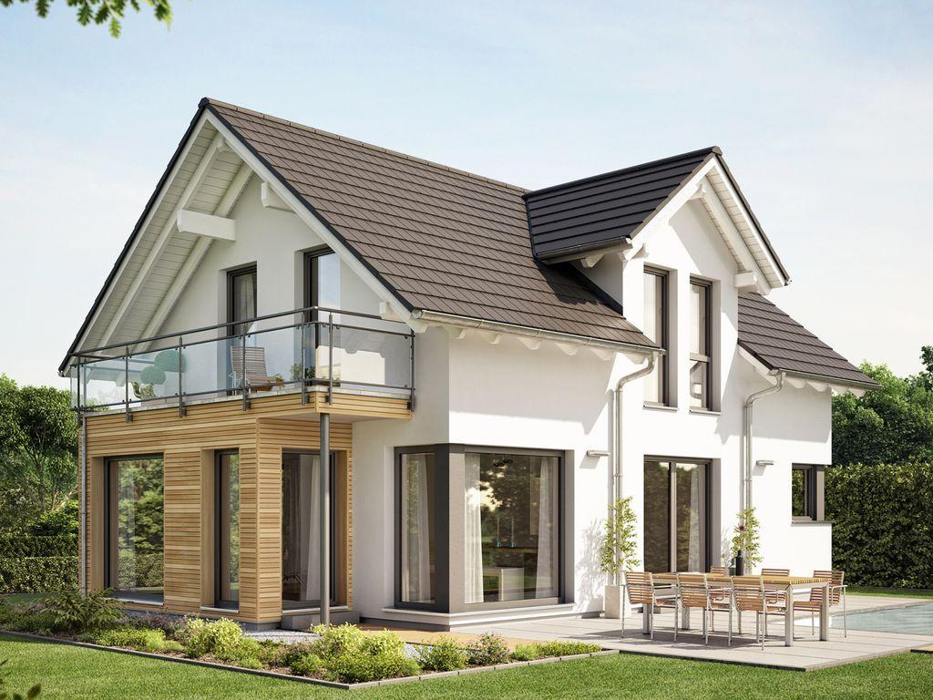 evolution 122 v10 modernes traumhaus mit satteldach zwerchgiebel und erker mit balkon und freisitz. Black Bedroom Furniture Sets. Home Design Ideas