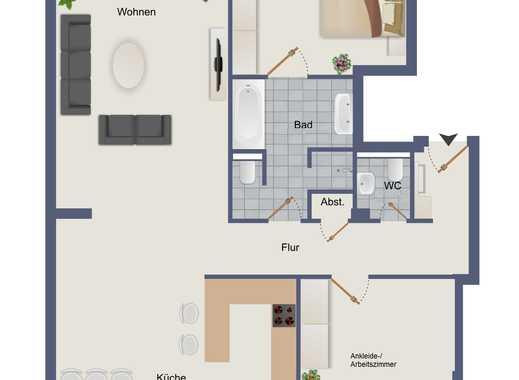 Großzügige Loft Wohnung mit Balkon und Einbauküche mitten in der Stadt