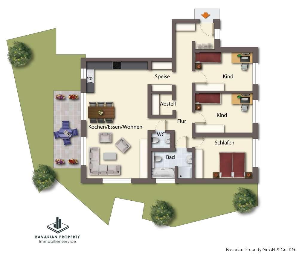 4-Zimmer-Erdgeschosswohnung am Perlbach in
