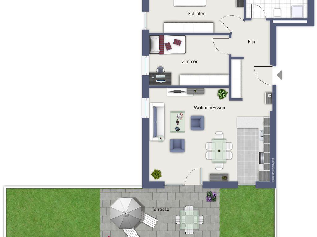 Grundriss Wohnung 5 mit Garten