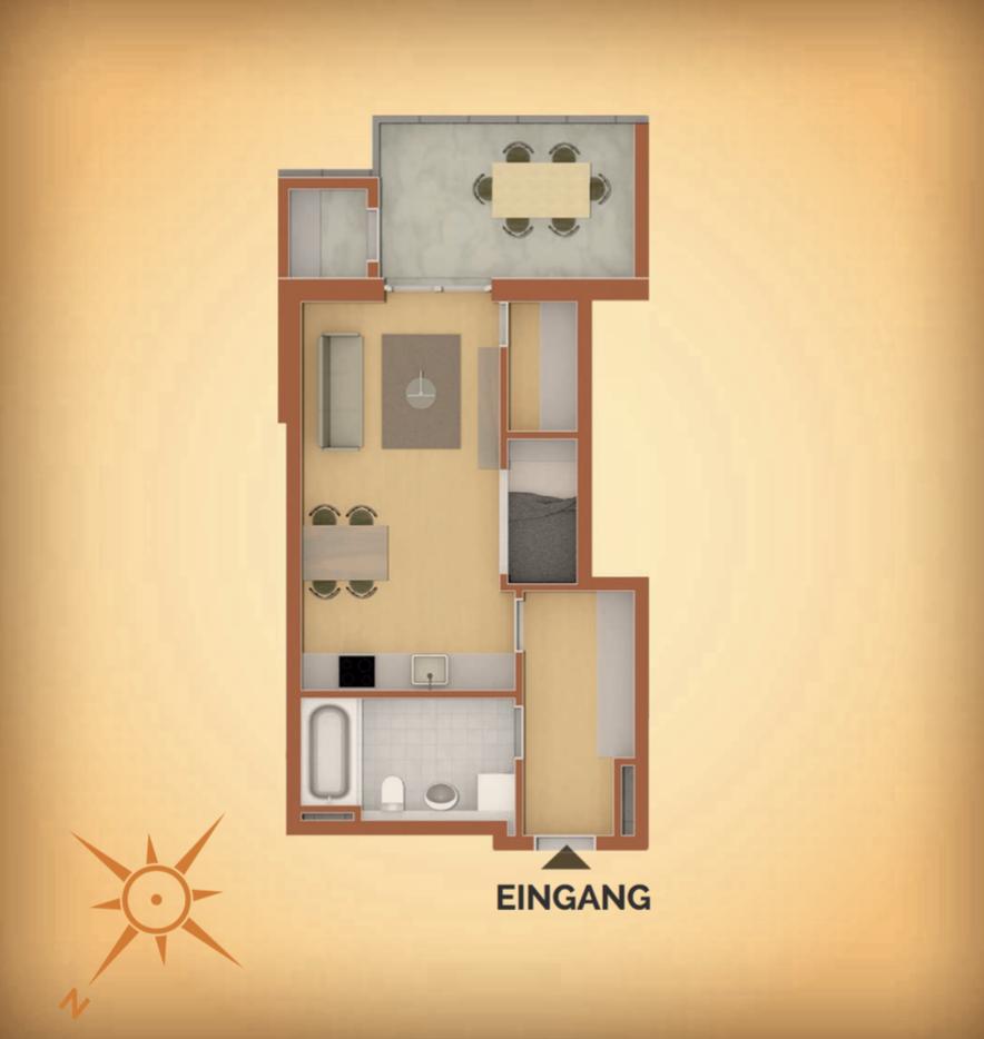 Stilvolle, geräumige 1-Zimmer-Erdgeschosswohnung mit Terrasse und Garten in Vilsbiburg in