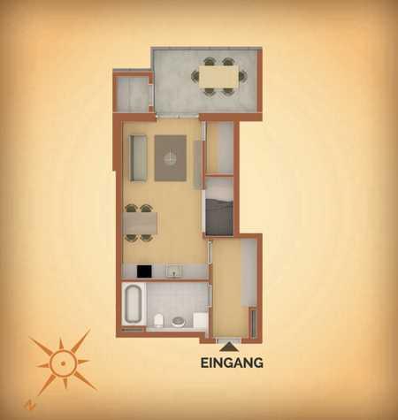 Stilvolle, geräumige 1-Zimmer-Erdgeschosswohnung mit Terrasse und Garten in Vilsbiburg in Vilsbiburg