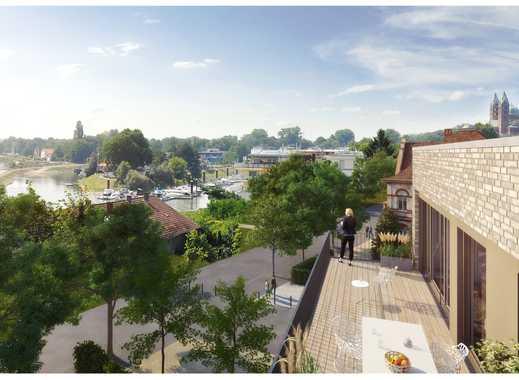 Hochwertig ausgestattete 2-Zimmer-Wohnung auf ca. 84 m² mit großem, sonnigen Balkon direkt am Rhein!