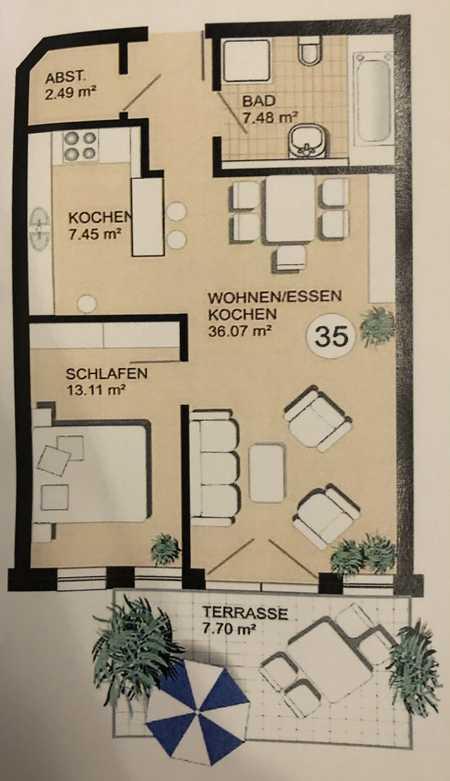 Neuwertige 2-Zimmer-EG-Wohnung mit Garten in Ampfing in Ampfing