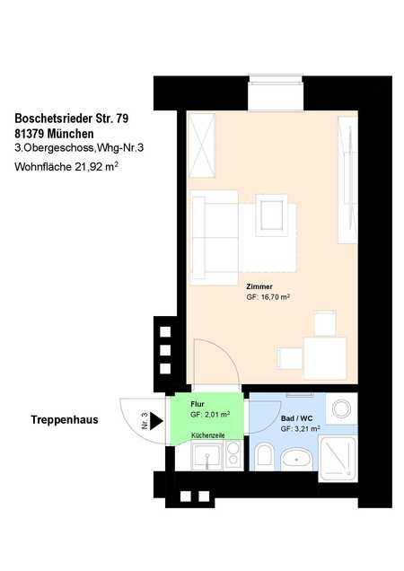 * Sendling * möbliertes Apartment mit Duschbad und Einbauküche * Parkett * Aufzug * in Obersendling (München)