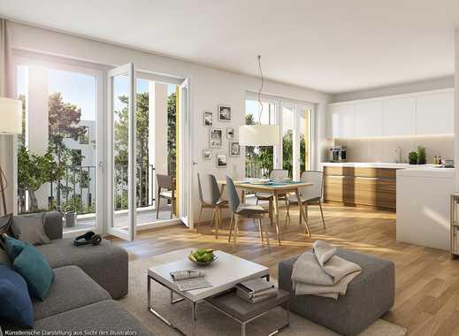 Top-Grundriss: ideal geschnittene 3-Zimmer-Wohnung mit Südwest-Loggia und 2 Bädern