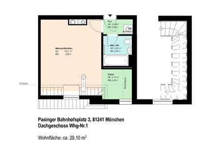 *Pasing*möblierte 1-Zimmer-Wohnung*EBK*Bad mit Badewanne*Speicherabteil*Parkett* in Pasing (München)