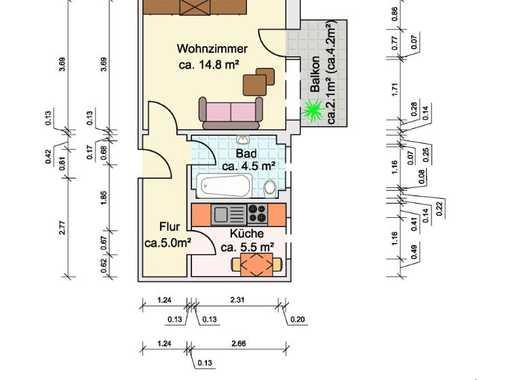 *Besichtigungstermin am Freitag um 19 Uhr* Ruhige 1-Zimmerwohnung mit Balkon