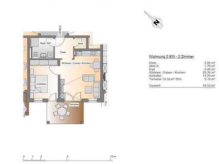 Neuwertige 2-Raum-Erdgeschosswohnung mit Terrasse und Einbauküche im Zentrum von Dillingen in Dillingen an der Donau