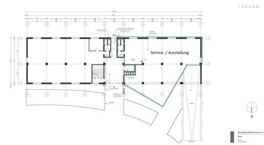 Grundriss Ausstellung/ Service