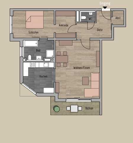 ERSTBEZUG: M-Solln, Premium 2- Zi.-Whg ca. 92 m² Wfl. im 1. OG Westbalkon in Solln (München)