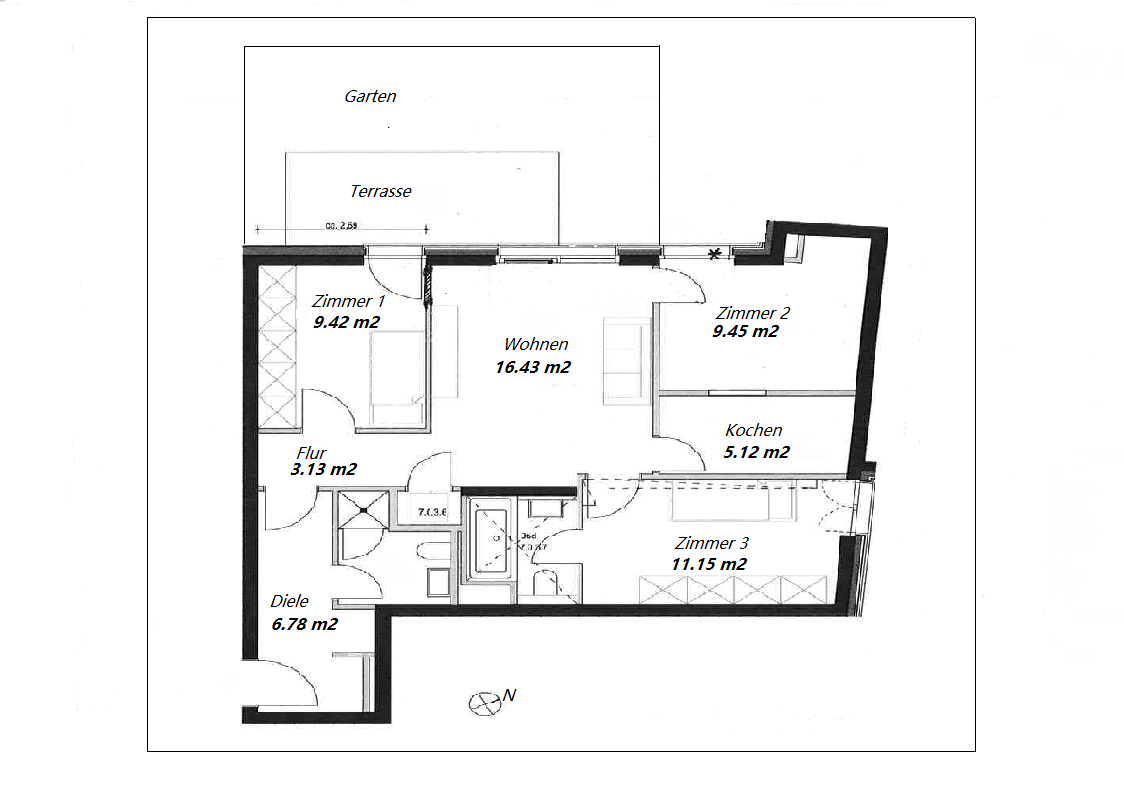 Erstbezug: ansprechende 4-Zimmer-Wohnung mit Einbauküche und Balkon in Neuhausen, Munich in Neuhausen (München)