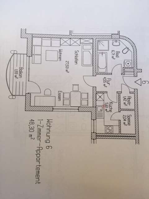 Attraktive 1-Raum-Wohnung mit EBK und Balkon in Coburg in Coburg-Zentrum (Coburg)