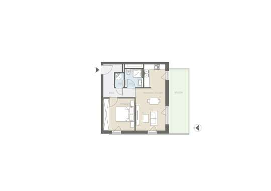 2 Zimmer-Neubau-Wohnung mit großem Süd-Balkon inkl. Tiefgaragenstellplatz