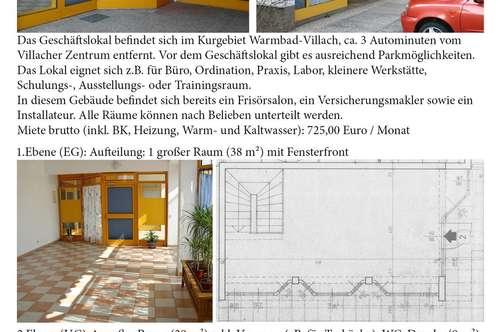 Geschäftslokal (85 m2) in Villach-Warmbad zu vermieten! (Parkplatz)
