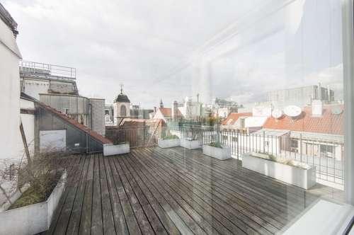 Großzügige 4-Zimmer DG-Wohnung mit GROßER Dachterrasse mitten in 1010 Wien zu vermieten!