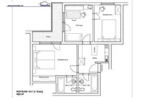 Komplett möblierte 3-Zimmer Wohnung