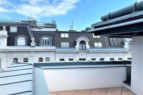 Exklusive 4 Zimmer Dachgeschoß Wohnung mit Terrasse über den Dächern des 1. Bezirks an der U1/3/4