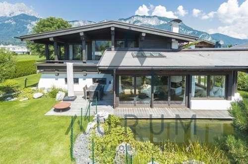 Sonnig-Ruhig-Panoramablick: Landhaus mit Zierteich