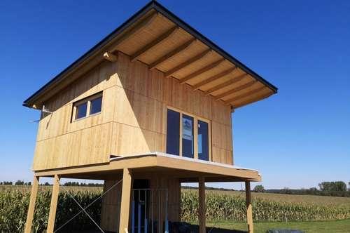 Seehaus aus Holz, Terrasse mit direktem Seeblick