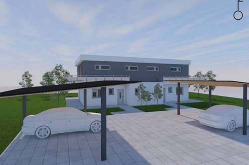Neubau-Doppelhaushälfte mit 300 m² Garten und Doppelcarport